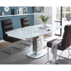 Glas Esstisch mit Drehauszug weiß 130x100 cm Monza