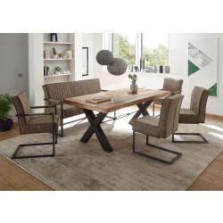 Essgruppe 6-teilig im Industrial Stil Sitzbank, Esstisch 200x100, Sitzbank, 2 Freischwinger und 2 Armlehnstühle