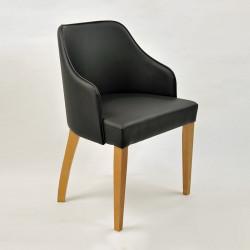 EVA Sessel Armlehnstuhl Echtleder Beine aus Buche oder Eiche