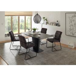 Essgruppe Keramik Esstisch mit 4 Stühlen Metall schwarz Ferrara