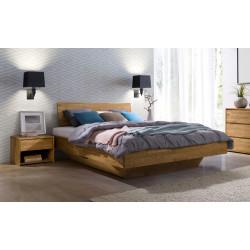 Doppelbett in Schwebeoptik mit durchgehendem Kopfteil 180x200 aus massiver Wildeiche Florenz
