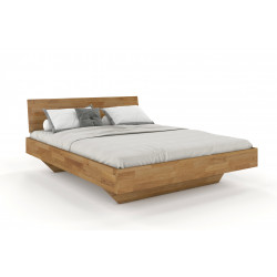 Doppelbett in Schwebeoptik mit durchgehendem Kopfteil 200x200 aus massiver Wildeiche Florenz