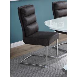 Freischwinger Stühle anthrazit grau Bezug Microfaser Gestell aus Edelstahl Monza