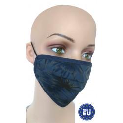 Mund- und Nasenmaske aus Baumwolle dunkelblau mit Palmen