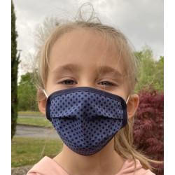 Wiederverwendbare Gesichtsmaske für Kinder blau gepunktet