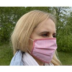 Gesichtsmasken aus Baumwolle Rot und Weiß gestreift