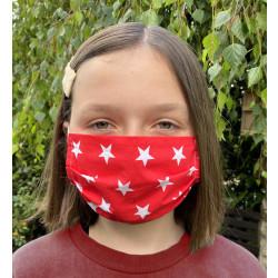 Wiederverwendbare Gesichtsmaske aus Baumwolle rot mit weißen Sternen