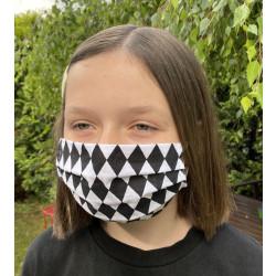 Wiederverwendbare Gesichtsmaske aus Baumwolle schwarz weiss mit Rauten