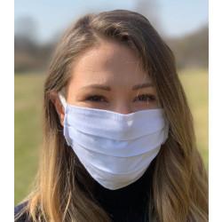 Wiederverwendbare Gesichtsmaske weiß aus 2-lagiger Baumwolle