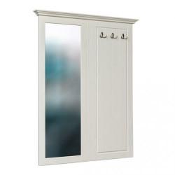 BELLUNO Garderobenspiegel + Paneel 130x108 cm massiv Kiefer creme-weiß