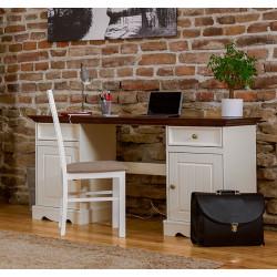 BELLUNO Schreibtisch 155x53 cm 2-trg Kiefer massiv weiß-nussbaum