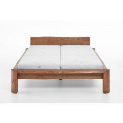 TAIGA Doppelbett 200x220 in Überlänge Pinie massiv mit Live Edge Baumkante