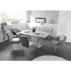 Tischgruppe 6-teilig Tisch aus Keramik Sitzbank und Polsterstühle hellgrau