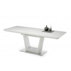 Ausziehbarer Esstisch aus Keramik 160-210 cm grau mit Edelstahl Bodenplatte SCALA