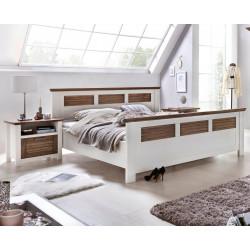 Doppelbett 160x200 Pinie teilmassiv weiß terra gewischt Laguna