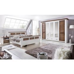 LAGUNA Schlafzimmer Set mit Schrank 5-trg Bett 180x200 Pinie teilmassiv weiß terra gewischt