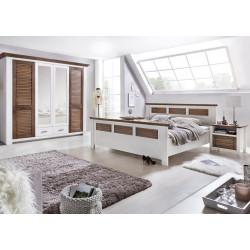 LAGUNA Schlafzimmer Set mit Schrank 4-trg Bett 180x200 Pinie teilmassiv weiß terra gewischt