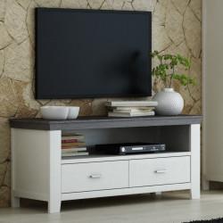 LAVENTE TV-Lowboard 2-Sk Fronten Kiefer massiv weiß  - trüffel