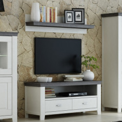LAVENTE TV-Lowboard + Wandboard SET Fronten Kiefer massiv weiß  - trüffel