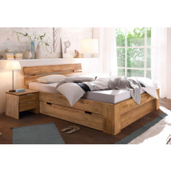 Bett mit Schublade 200x200 + Blende & 2 Nachttischen Wildeiche massiv geölt Lena-2