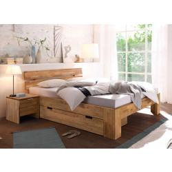 Doppelbett mit Schublade 200x200 + 2 Nachtkommoden Wildeiche massiv geölt Lena-2