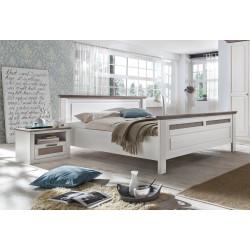 LOCARNO Doppelbett 160x200 weiß grau Pinie teilmassiv