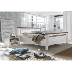 Doppelbett weiß taupe Pinie Größe wählbar Locarno