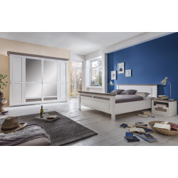 LOCARNO Schlafzimmer Set Drehtürenschrank 6-türig Bett 200x200 2x Nachtkonsolen