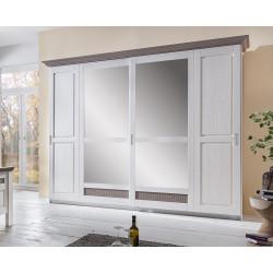 LOCARNO Schwebetürenschrank mit Spiegel Breite 266 cm weiß grau Pinie teilmassiv