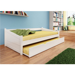 Funktionsbett mit Schublade weiß aus Kernbuche 90x200 MAILAND