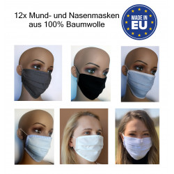 Gesichtsmasken 12x Stück aus Baumwolle in grau, schwarz, blau und weiß
