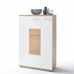 NIZZA von MCA Highboard 2-trg Links weiß matt & Crackeiche