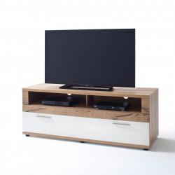 NIZZA von MCA TV-Lowboard 150 cm 1-Sk weiß matt & Crackeiche