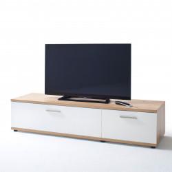 NIZZA von MCA TV-Lowboard 180 cm 2-Sk weiß matt & Crackeiche
