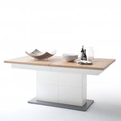 NIZZA von MCA Esstisch 180x100 cm ausziehbar weiß matt & Crackeiche