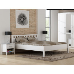 Bett PAULA aus massiver weiß lackierter Kiefer