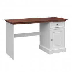 BELLUNO Schreibtisch 130x53 cm 1-trg Kiefer massiv weiß-nussbaum