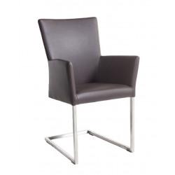 QIARA Freischwinger Armlehnstuhl Bezug aus Kunstleder Beine aus Edelstahl