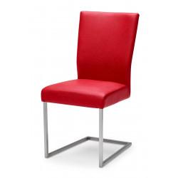QIARA Freischwinger Stuhl in Kunstleder mit Edelstahl Kufe