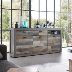 SANTA FE Sideboard 3-trg 2-Sk Driftwood NB inkl Beleuchtung