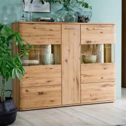 SANTORI von MCA Highboard 3-trg Asteiche Bianco