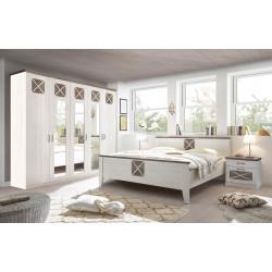 Schlafzimmer Set Pinie weiss mit Kleiderschrank 254 cm, Doppelbett 180x200, 2 Nachtkommoden