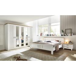 Schlafzimmer komplett Pinie weiss mit Bett 180x200, Schrank 265 cm, 2x Nachtkommoden Trentino