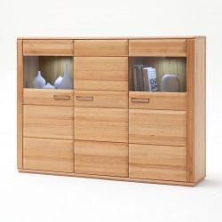SENA von MCA Highboard 3-trg Holz/Glas Kernbuche geölt teilmassiv