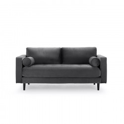 2-Sitzer Couch im Samt Stoff dunkel grau 184 cm Merini