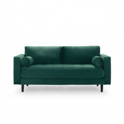 2-Sitzer Couch im Samt Stoff dunkelgrün 184 cm Merini
