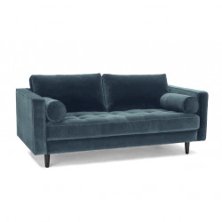 2-Sitzer Couch im Samt Stoff petrol blau 184 cm Merini