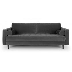 3-Sitzer Couch im Samt Stoff dunkel grau 224 cm Merini
