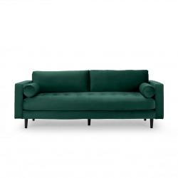 3-Sitzer Couch im Samt Stoff grün 224 cm Merini