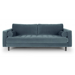 3-Sitzer Couch im Samt Stoff petrol türkis grün-blau 224 cm Merini